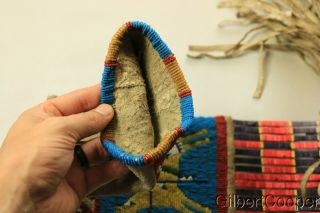 SIOUX BEADED FIGURE PIPE BAG W/FRINGE AND QUILLWORK 4