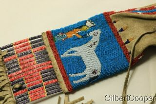 SIOUX BEADED FIGURE PIPE BAG W/FRINGE AND QUILLWORK 5