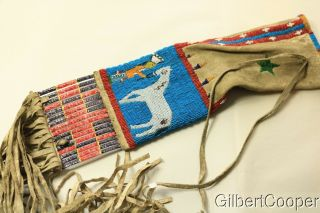SIOUX BEADED FIGURE PIPE BAG W/FRINGE AND QUILLWORK 6