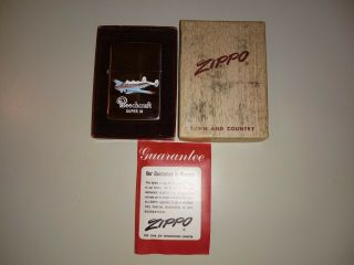 1950 - 57 Zippo Pat.  Pend/2517191 Town And Country Beechcraft 18 Ad Lighter