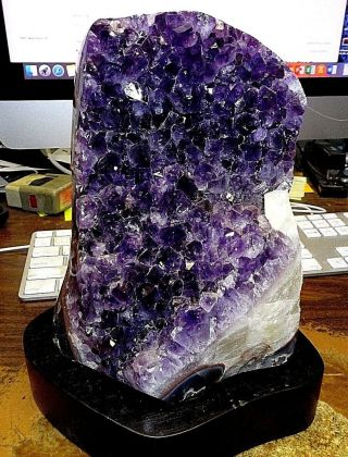 Large Amethyst Crystal Cluster Geode From Uruguay Cathedral;polished; Stand;