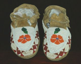 Pair Native American Sioux Indian Beaded Moccasins