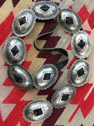 Navajo Native American Stamped Sterling Silver Old Pawn Concho Belt