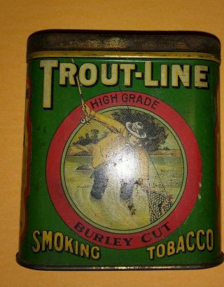 Early 1900s Trout - Line Smoking Tobacco Pocket Tin