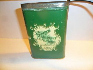 """Reposed Chipped Plug Tobacco Pocket Tin Large 3.  5 """" / 5 """" Very Hard To Find Good"""