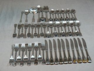 56 Oneida American Colonial Stainless Flatware Set Service For 10 Cube Mark
