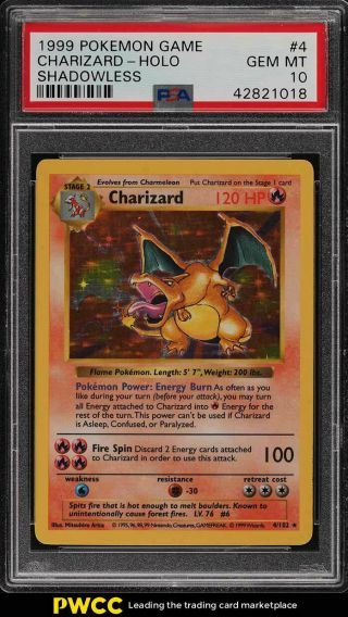 1999 Pokemon Game Shadowless Holo Charizard 4 Psa 10 Gem (pwcc)