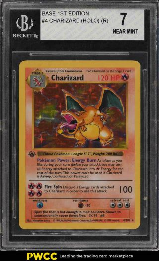 1999 Pokemon Game 1st Edition Holo Charizard 4 Bgs 7 Nrmt (pwcc)