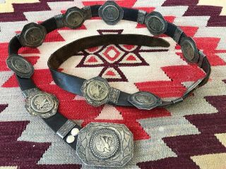 Old Hefty Native American Stamped Sterling Silver W/ Half Dollars Concho Belt