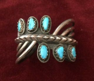 R.  Platero,  Cuff Bracelet,  Hand Made Sterling Silver & Turquoise Signed