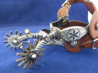 """California Style Silver Spurs Garcia """" Dandy """" Pattern,  With Straps"""
