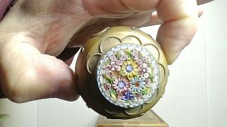 Antique Color Detail Italian Brass Micro Mosaic Box Ex Patina
