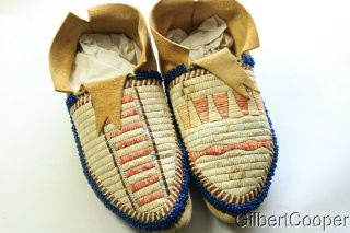 Crow Indian Quilled And Beaded Mens Moccasins
