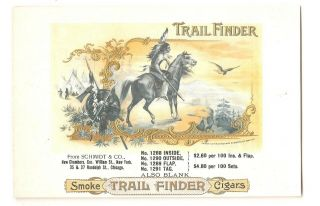 Trail Finder - Native American Indian On Horseback - 5pc.  Embossed Cigar Label