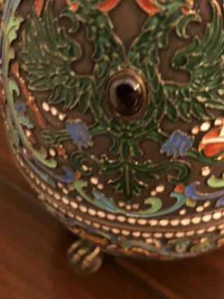 19th Century Russian Egg.  Sterling And Enamel Cloisonne 3