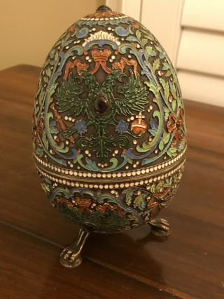 19th Century Russian Egg.  Sterling And Enamel Cloisonne 6