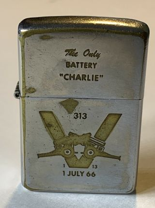 1969 Zippo Lighter Charlie Battery 1st Battalion 13th Marines - Snoopy Graphic
