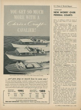 1959 Chris Craft Boat Ad Cavalier Cruiser Custom Sports Utility Boating Vintage