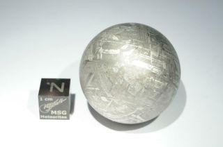Gibeon Iron Meteorite Sphere Weighing 146.  4 Grams.  Polished And Etched.