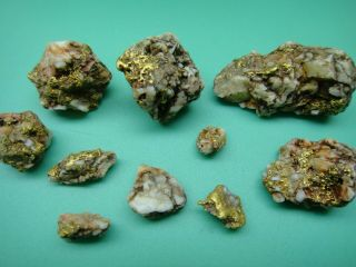 Old Group California Gold Quartz Natural Nuggets In Pouch 43.  6 Grams (28.  0 Dwt)