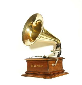 1906 Zonophone Concert Phonograph W/original Brass Horn Near & Gorgeous