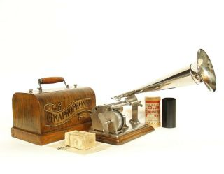 1900 Columbia Q Cylinder Phonograph W/nickel Horn & Q Reproducer