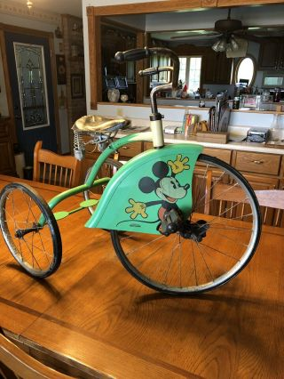 1934 Mickey Mouse Velocipede Tricycle Colson Made For Walt Disney (1 Yr Only)