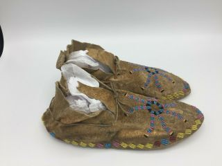1880 ' s Native American Plains CROW Indian Hide Beaded Moccasins 3