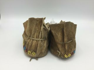 1880 ' s Native American Plains CROW Indian Hide Beaded Moccasins 5
