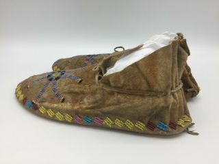 1880 ' s Native American Plains CROW Indian Hide Beaded Moccasins 6