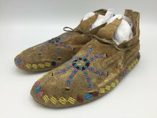 1880 ' s Native American Plains CROW Indian Hide Beaded Moccasins 7
