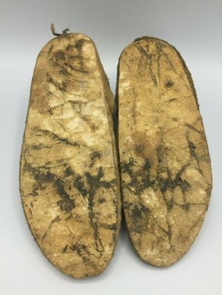 1880 ' s Native American Plains CROW Indian Hide Beaded Moccasins 8