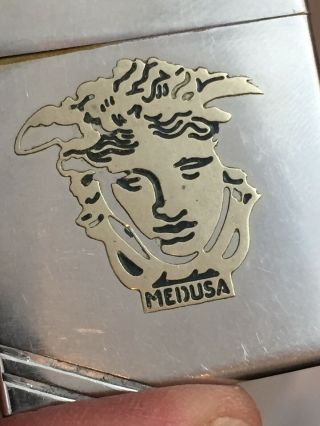 1934 - 35 OUTSIDE HINGE Zippo Lighter With Attached MEDUSA Metallique 5