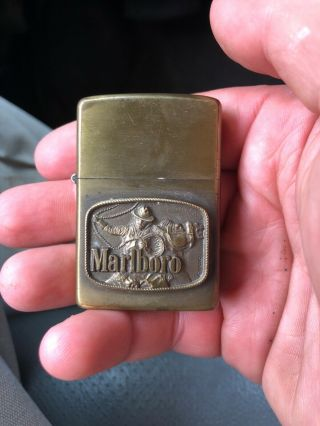 Zippo 1976 Solid Brass Case Marlboro Lighter - Cowboy With Lasso - Scarce Issue