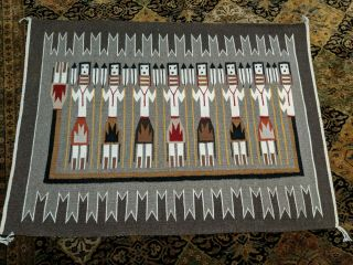 "Fine Navajo Indian Pictorial Rug Corn Yei Prayer Feather 48 "" X 35 "" C.  1979 - 1980"