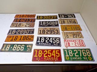 17 Diff.  Dickinson Co.  Kansas Car License Plate Tags Between 1931 To 1948