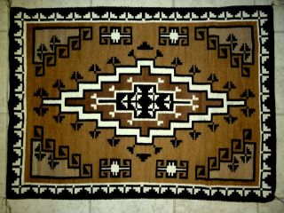 """Navajo Pattern Two Grey Hills Rug By Betty Henderson - 57 1/2 """" X 38 """""""