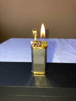 Dunhill Unique Lighter Silver Plated Hobnail/gold Plated Trim Hallmark Ad Case