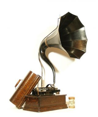 Near,  All - 1910 Edison Home Phonograph W/cygnet Horn 2 & 4 Minute