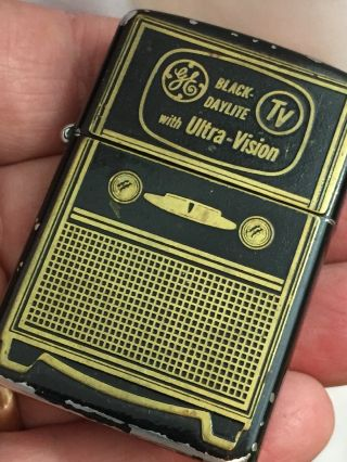 1948 - 49 Zippo Lighter - Ge Black Daylight With Ultra - Vision Television - Wow