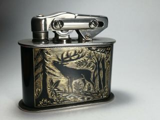 Kw Karl Wieden Table Lighter - Black Stag On Gold Background