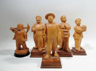 C1970 Chinese Cultural Revolution Group Of 5 Hand Carved Boxwood Figurines