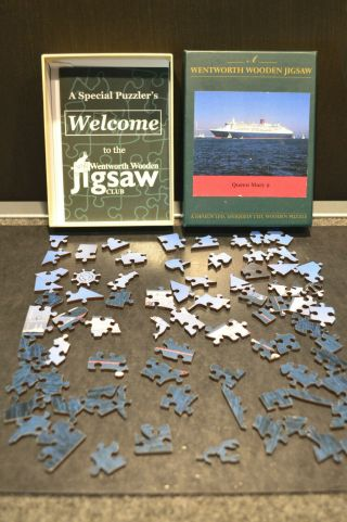 Wentworth 75 Piece Wooden Jigsaw Puzzle 4.  5 X 7 (120 X 175mm) Rms Queen Mary 2