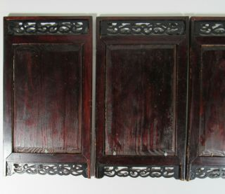 Old Chinese Hand Painted Porcelain Set of 4 Panel Table Screen 9