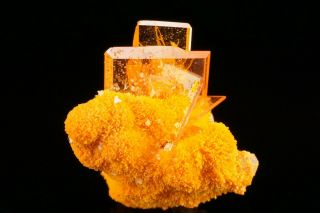Aesthetic Gem Wulfenite & Mimetite Crystal Cluster Rowley Mine,  Arizona