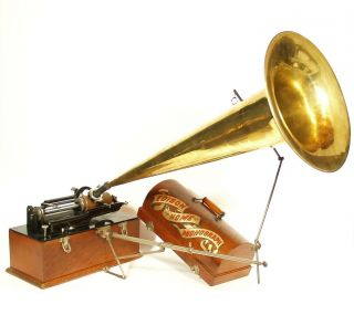 "1898 Edison Home Phonograph W/30 "" Seamless Brass Horn & Chicago "" Crazy Crane """