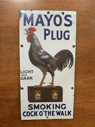 Mayo's Plug Tobacco Porcelain Sign - 1920's