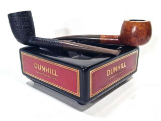 Two Estate Dunhill Smoking Pipes Root & Shell Briar W/ Dunhill Ashtray Look Read