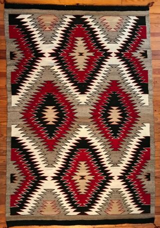 A Real Smoker Of A Navajo Red Mesa Eyedazzler Rug,  Untouched &