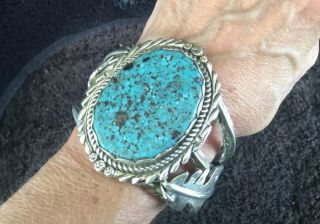 170g Signed Sterling Silver Indian Mountain Spiderweb Turquoise Chama